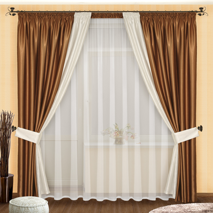 Как сшить комбинированные шторы в гостиную